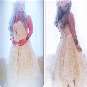 b94a9e8be3a Dresses - NEW Overalls Vintage Lace Maxi Dress Boho Chic